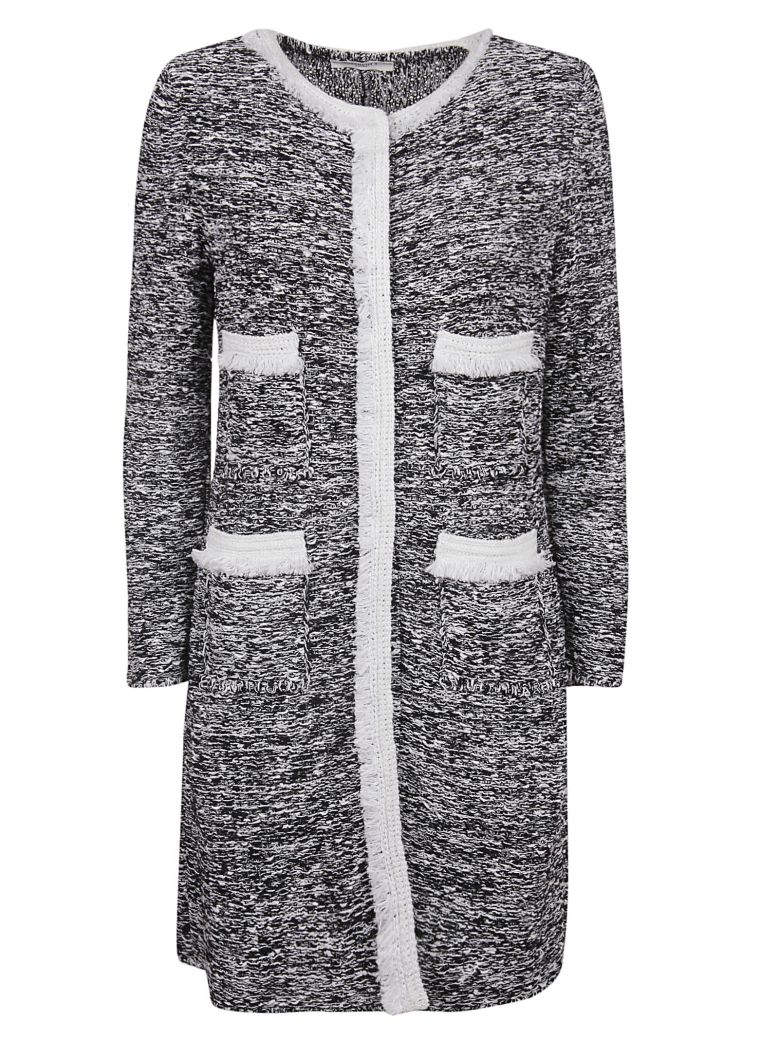 Charlott Charlott Frayed Coat - Bianco Nero