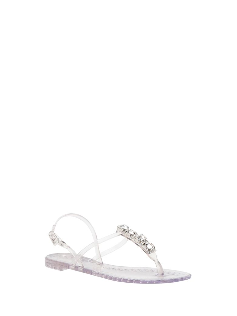 Casadei Jelly Sandals With Stones - Bianco