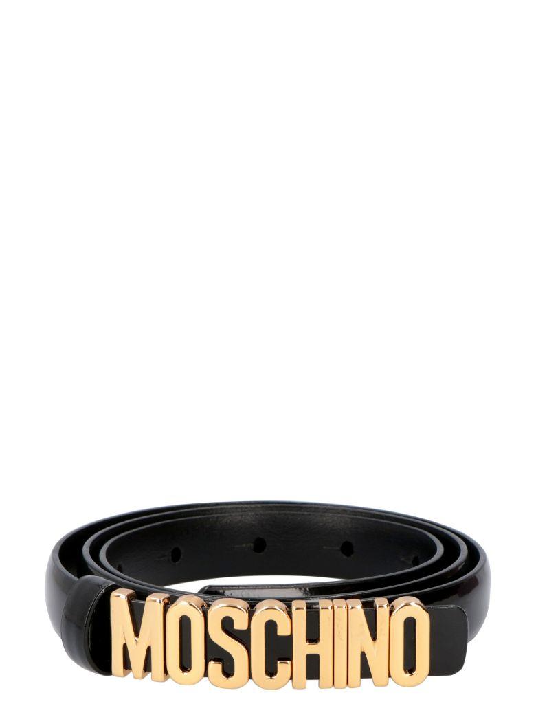 Moschino Logo Buckle Leather Belt - black
