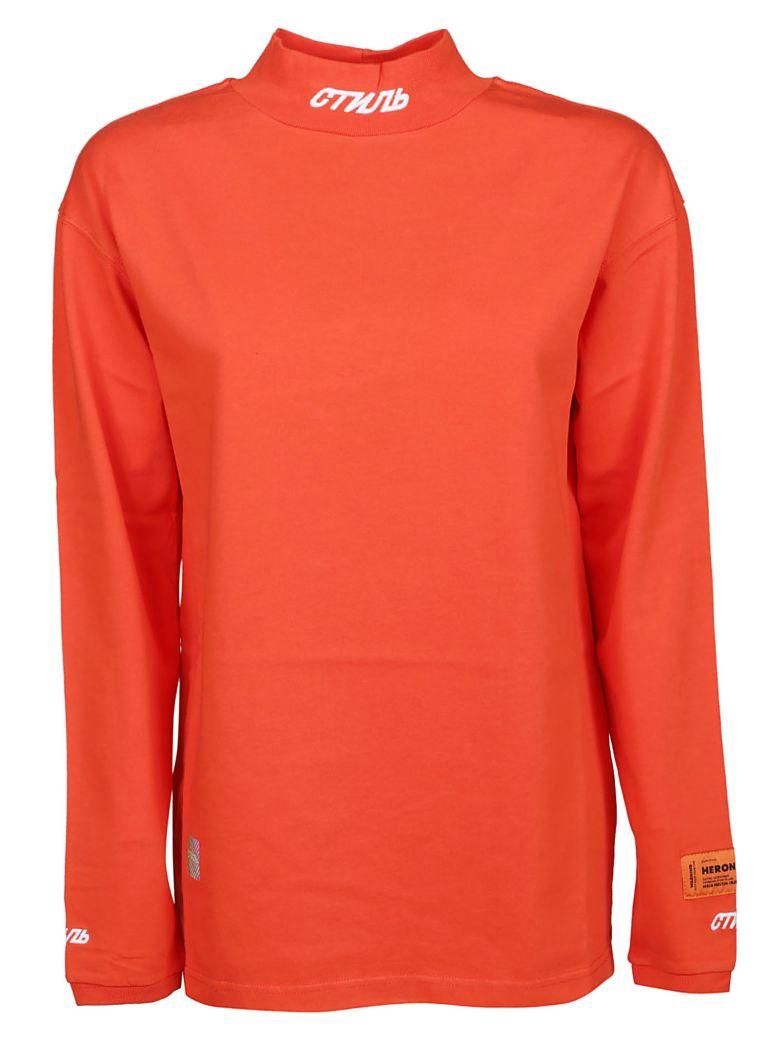 HERON PRESTON Logo Patch Sweatshirt - Coral Red White