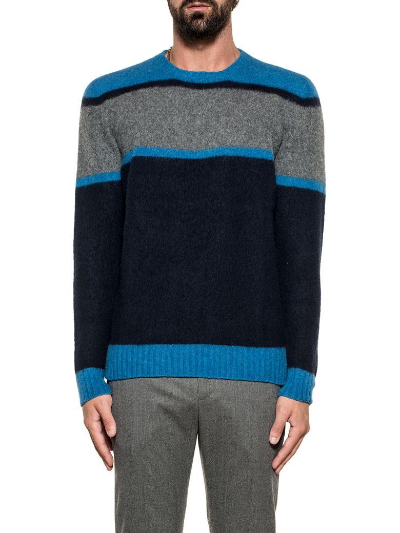 Drumohr Light Blue/gray/blue Striped Wool Sweater - Light Blue/gray/blue