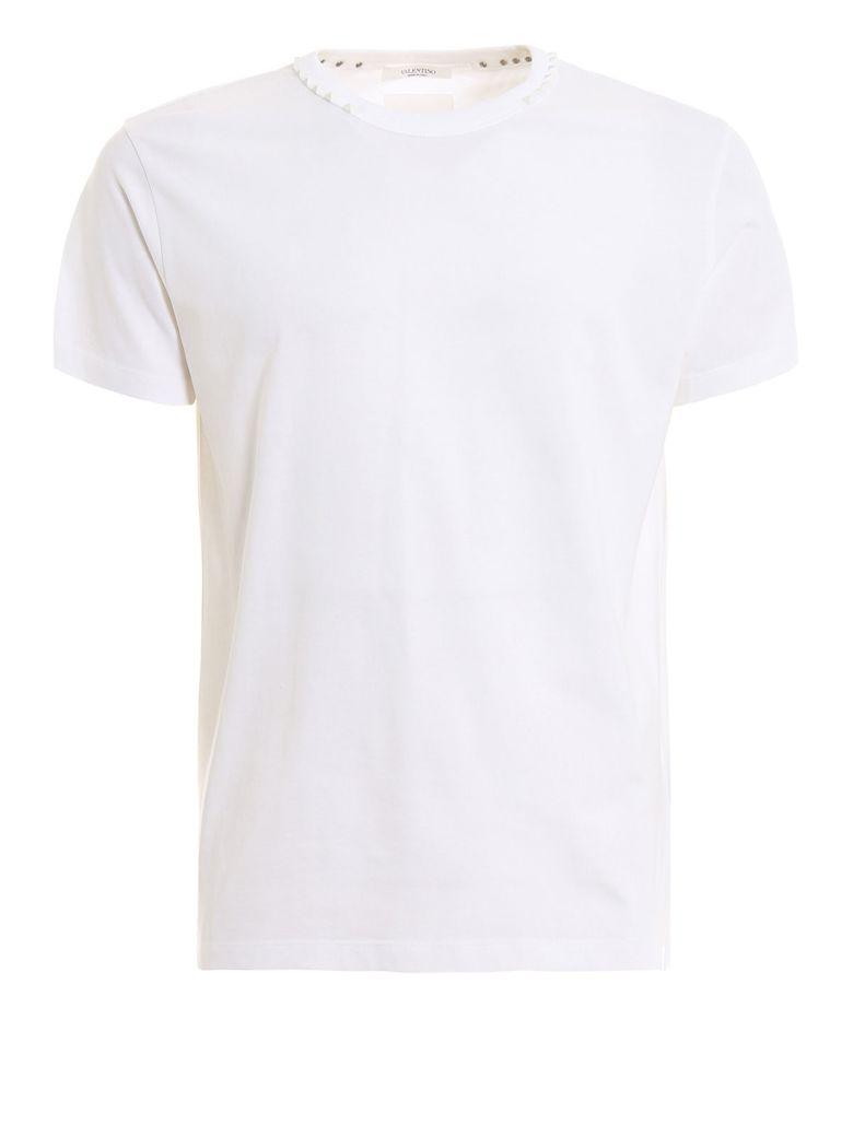 Valentino Rockstud-neck T-shirt - Bo White