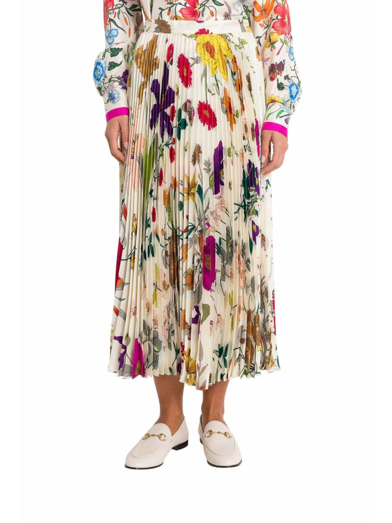Gucci Flora Pleated Skirt - Multicolor