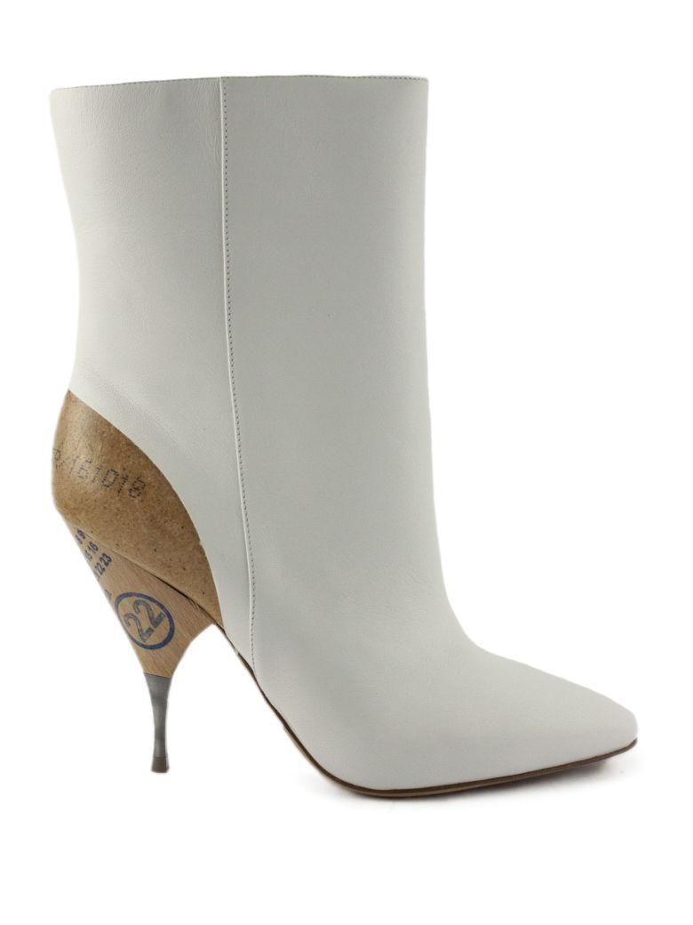 Maison Margiela White Leather Ankle Boots - Bianco