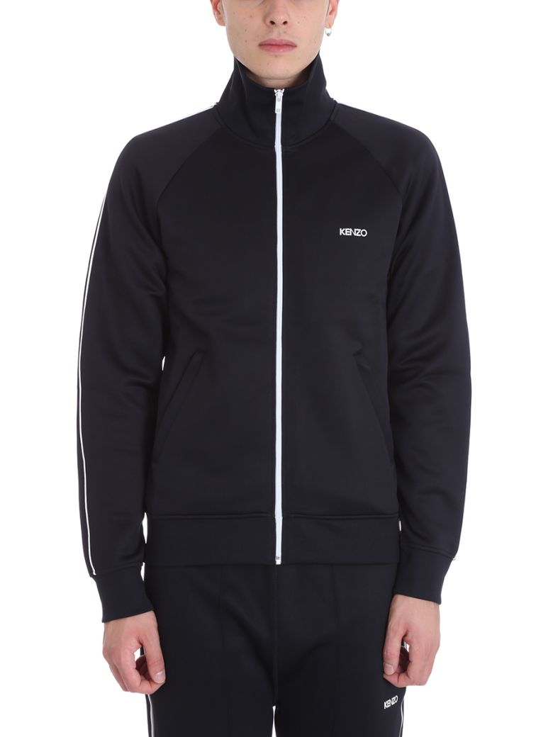 Kenzo Zipper Black Cotton Hoodie - black
