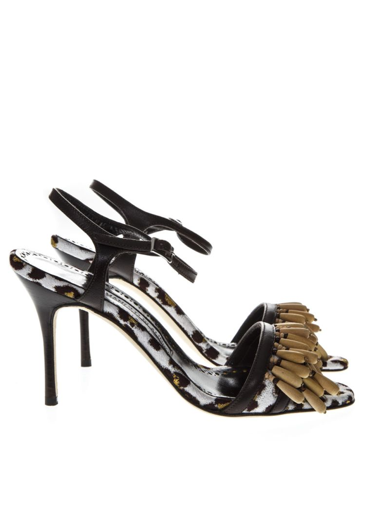 Manolo Blahnik Leopard Print Sandals In Fabric And Leather - Leopard gold