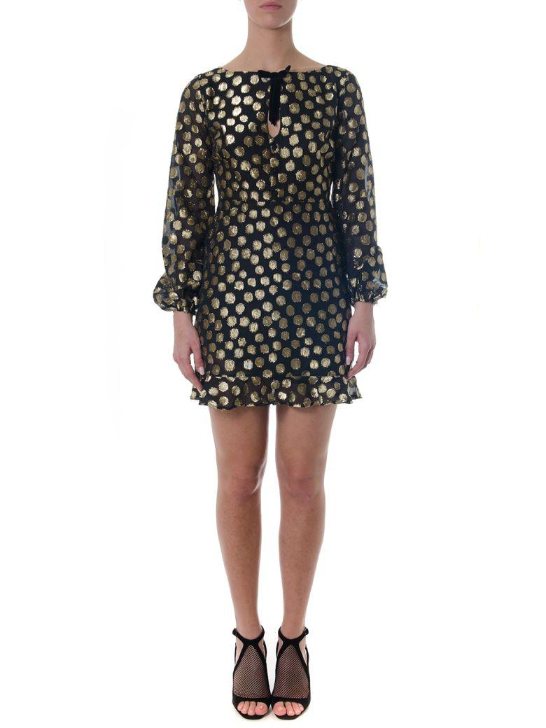 For Love & Lemons Black Tulle Dress With Gold Pois - Black/gold