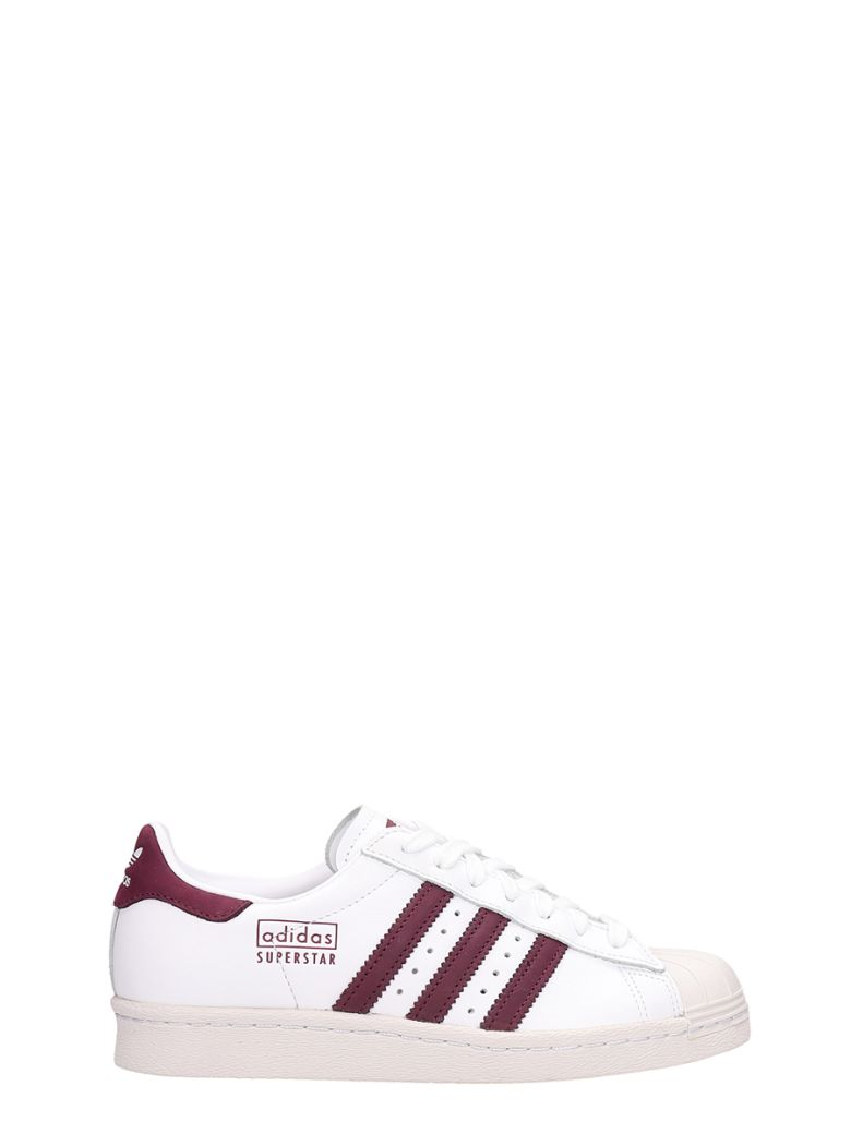 Adidas White Leather Superstars 80s Sneakers - white