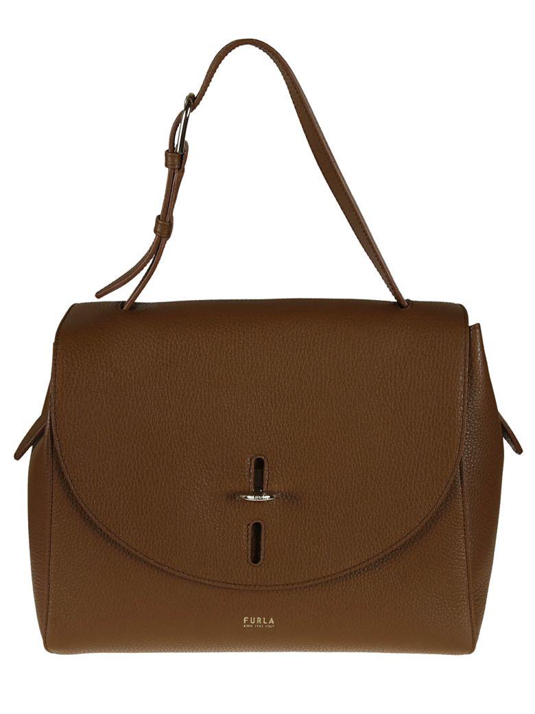 Furla Leather Flap Shoulder Bag - cognac