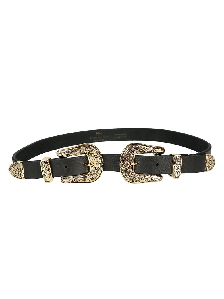 B-Low the Belt Double Buckle Belt - Black Gold