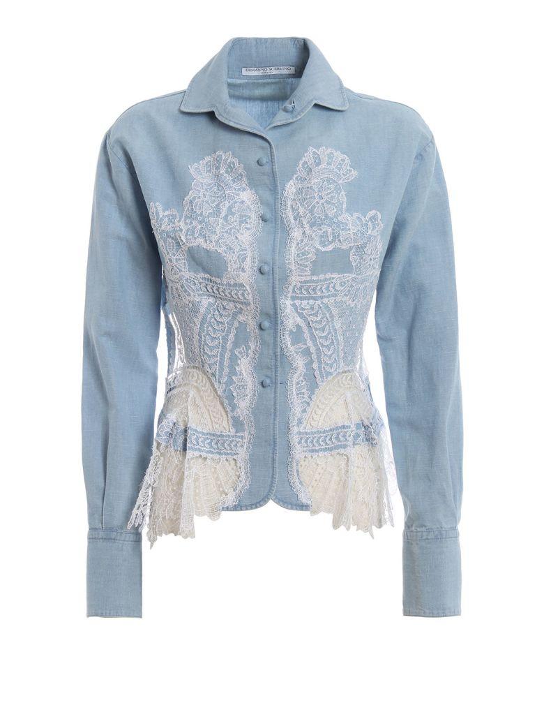 Ermanno Scervino Denim Lace Shirt - Bright Cobalt