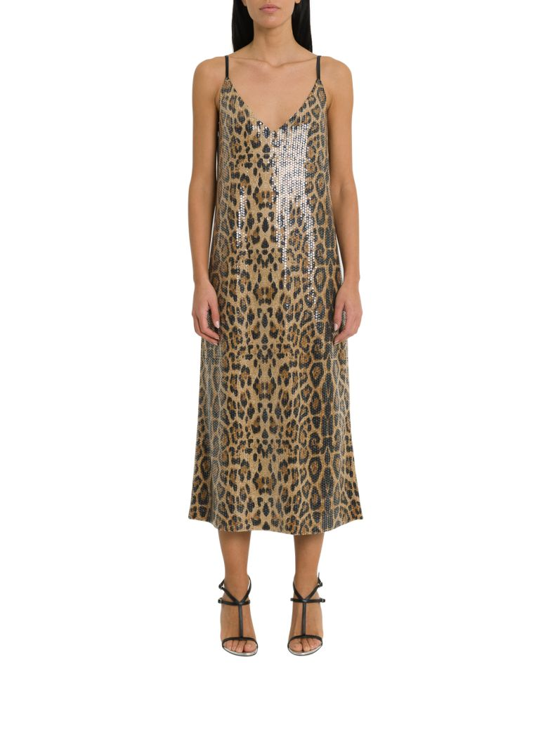 In The Mood For Love Rihanna Sequines Leopard Dress - Beige
