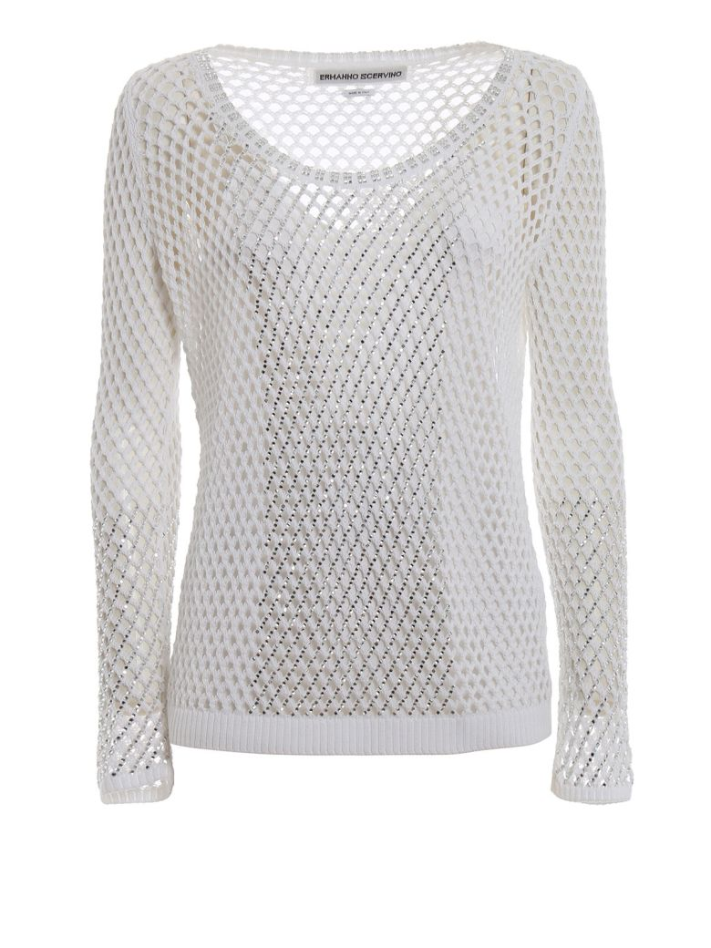 Ermanno Scervino Embellished Mesh Sweater - Off White