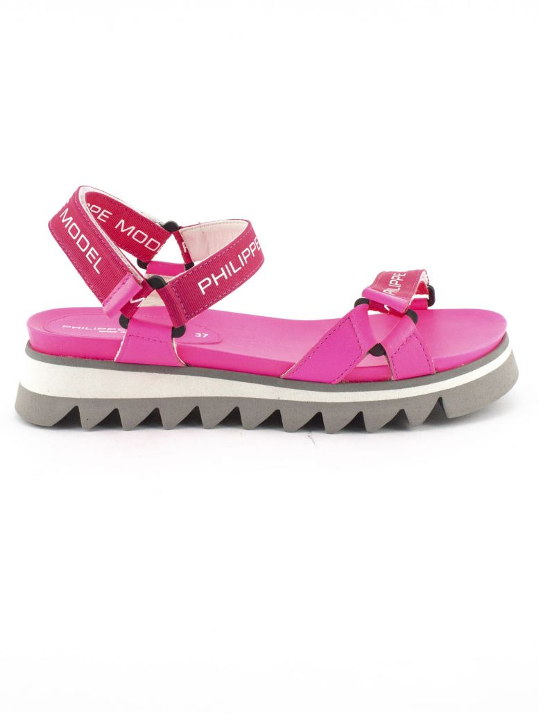 Philippe Model Fuchsia Leather And Fabric Sandals - Purple