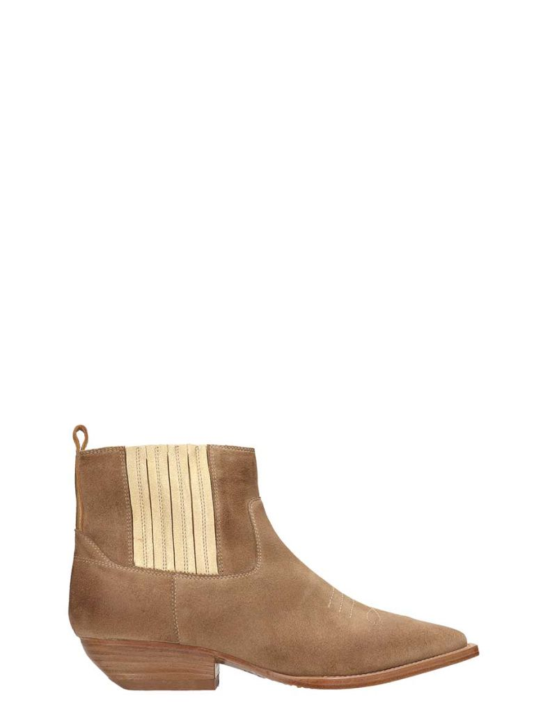 Julie Dee Beige Suede Leather  Tex Ankle Boots - Beige