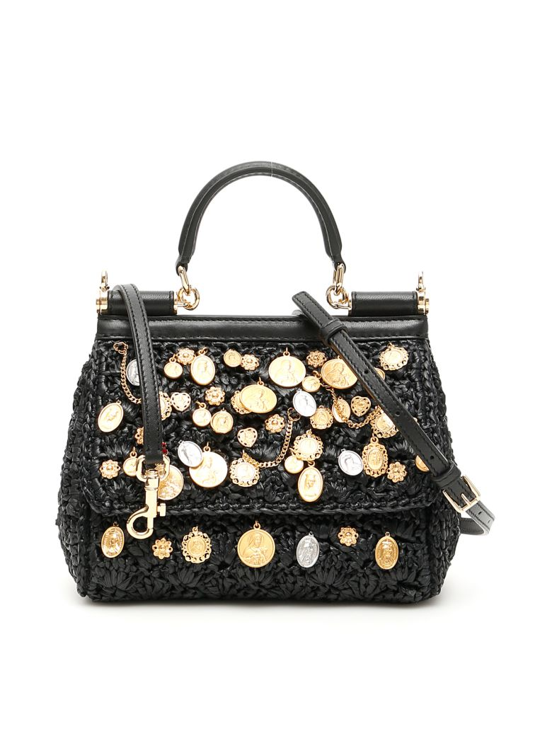 Dolce & Gabbana Small Raffia Sicily Bag - NERO (Black)