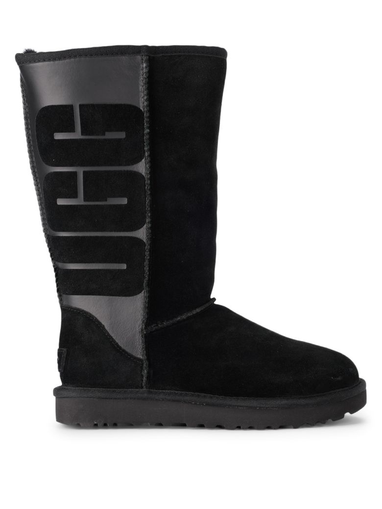 UGG Classic Tall Black Leather And Sheepskin Boots - Black