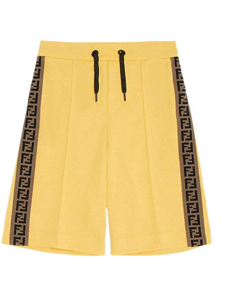 Fendi YELLOW COTTON BLEND SHORTS