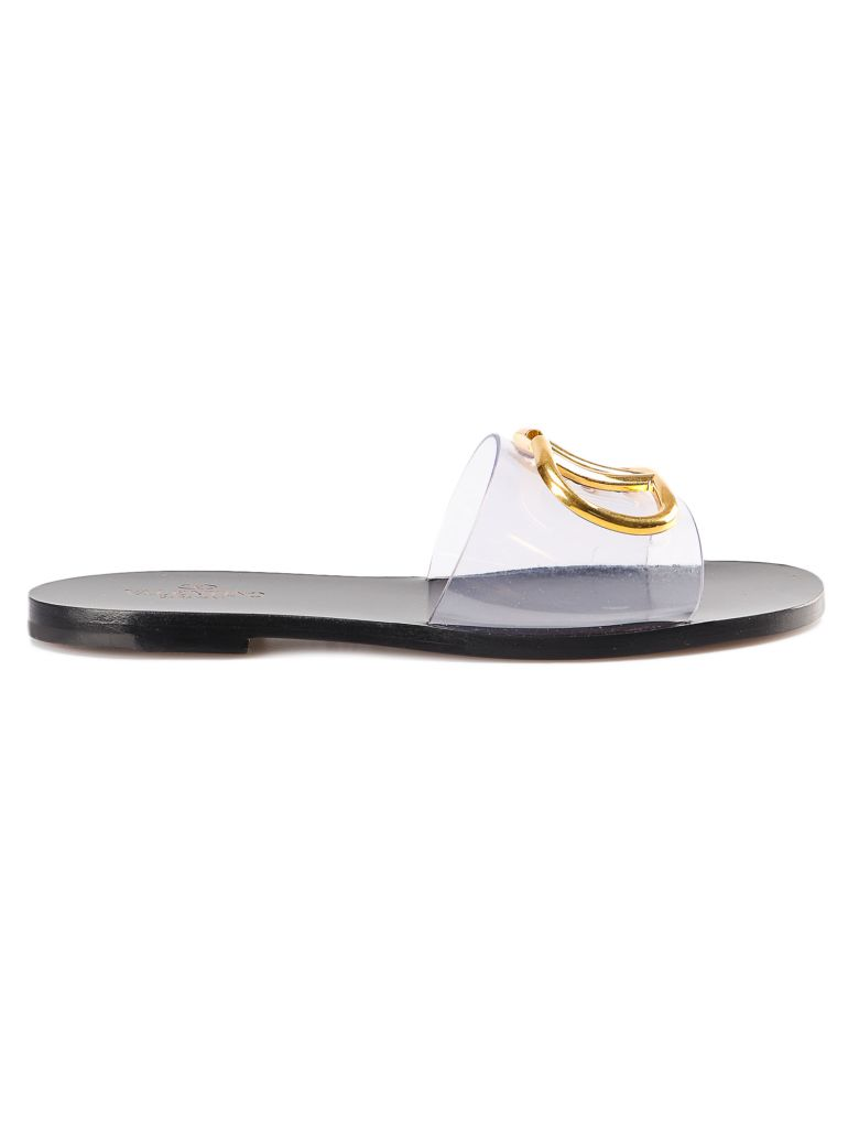 Valentino Garavani V-logo Flat Sandals - No Trasp/nero