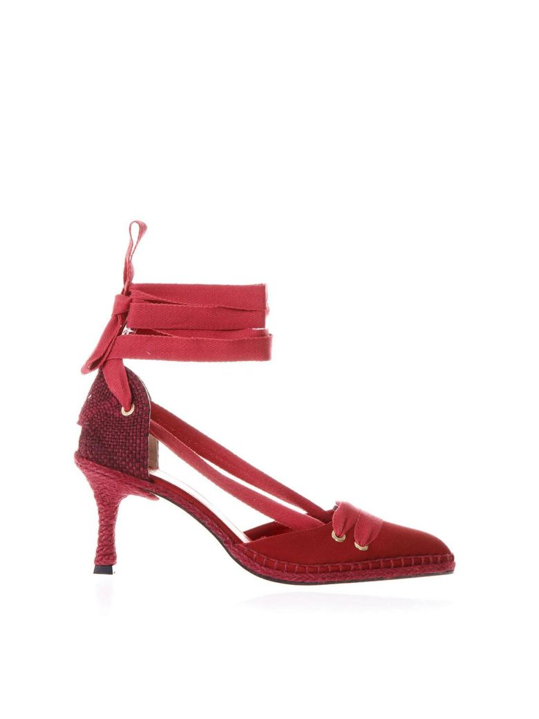 Castañer by Manolo Blahnik Red Satin And Juta Espadrilles With Heels - Red