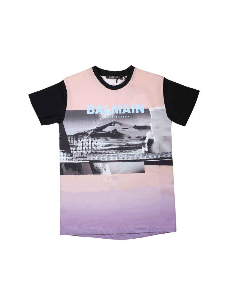 Balmain Pink And Black T-shirt - Rosa