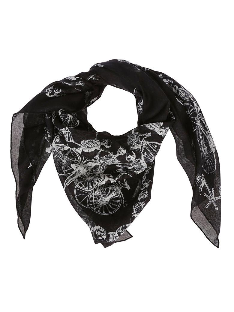 Alexander McQueen Skeleton Bike Print Scarf - Black