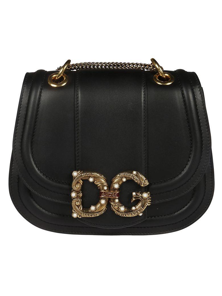 Dolce & Gabbana Embellished Logo Shoulder Bag - Black