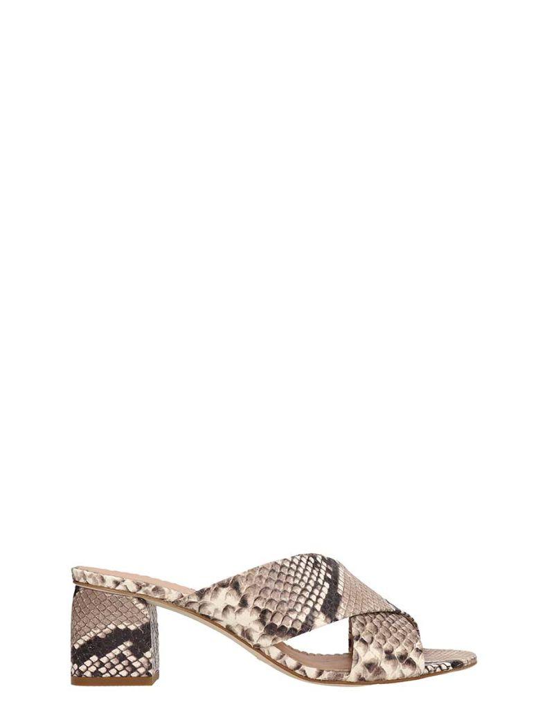Julie Dee Python Print Leather Mule - Gray
