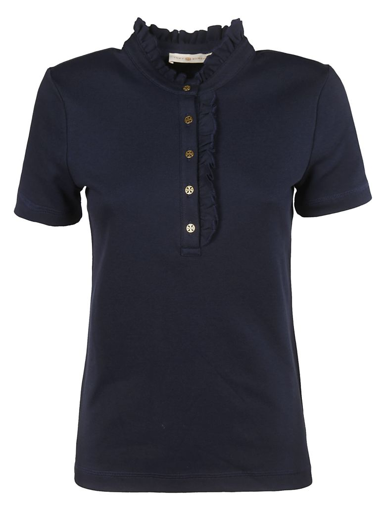 Tory Burch Frilled Polo Shirt - navy
