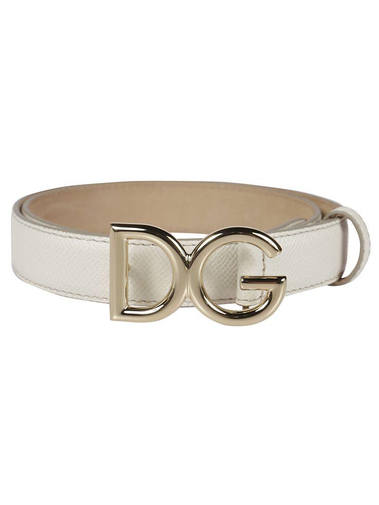 Dolce & Gabbana Logo Buckle Belt - white