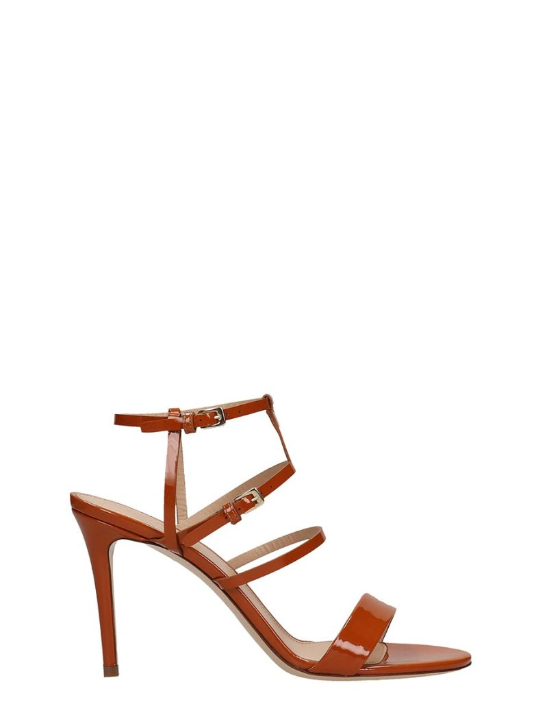 Dei Mille Browne Patent Leather Sandals - leather color