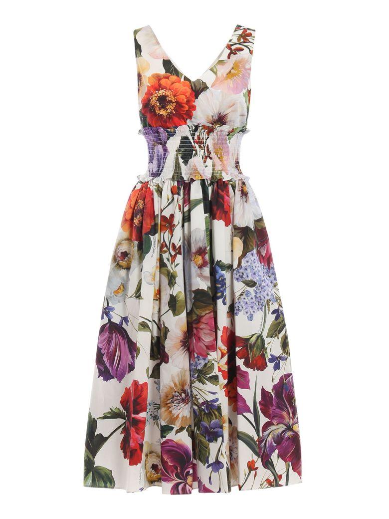 Dolce & Gabbana Floral Print Dress - Fiori Vari Fdo Bianco