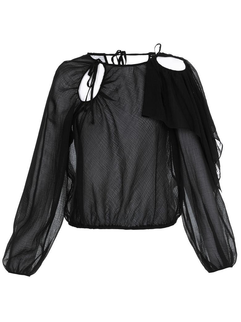 3.1 Phillip Lim Sheer Cotton Blouse - BLACK