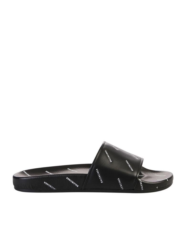 Balenciaga Branded Slide Sandals - Black