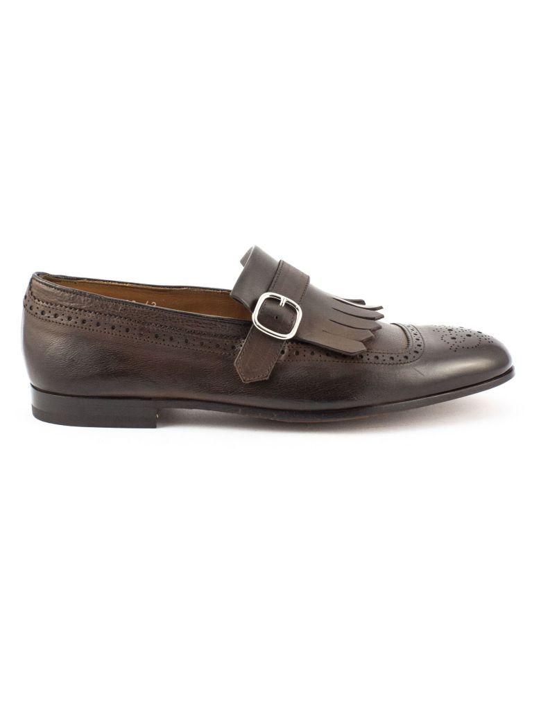Doucal's Brown Leather Fringed Loafer - Testa Di Moro