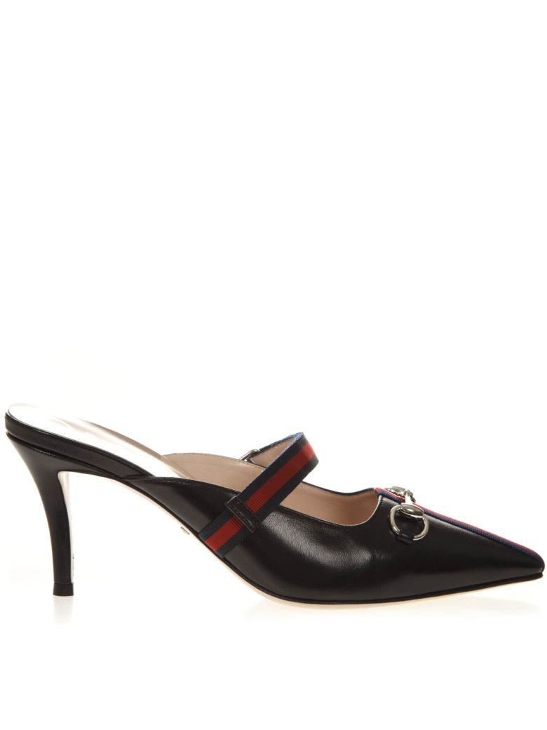 Gucci Black Leather Mid-heel Slide With Web - Black