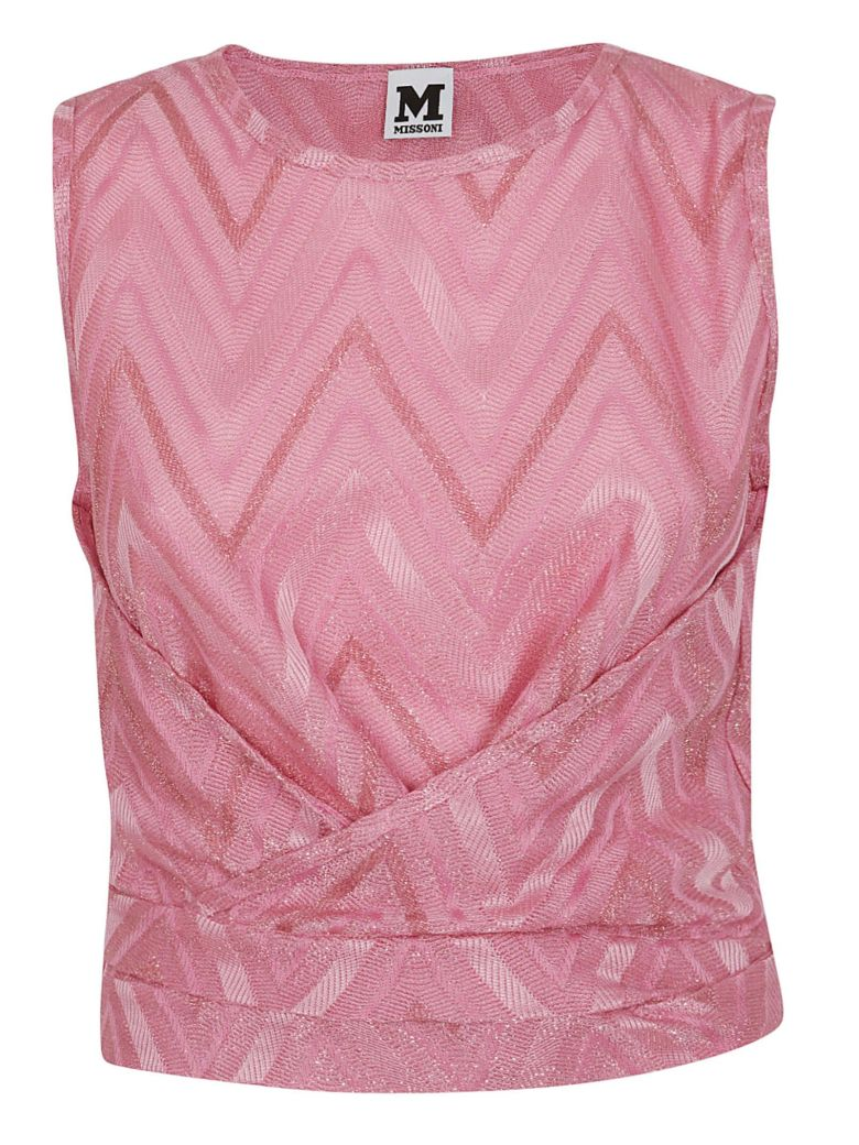 M Missoni Chevron Ruched Top - Pink