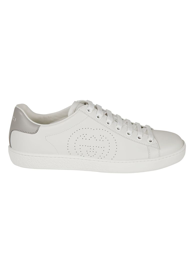 Gucci Perforated Logo Sneakers - White