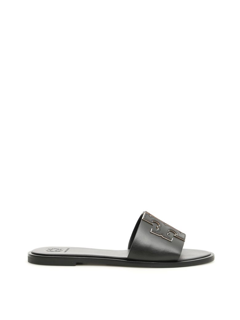 Tory Burch Ines Slides - PERFECT BLACK/SILVER (Black)