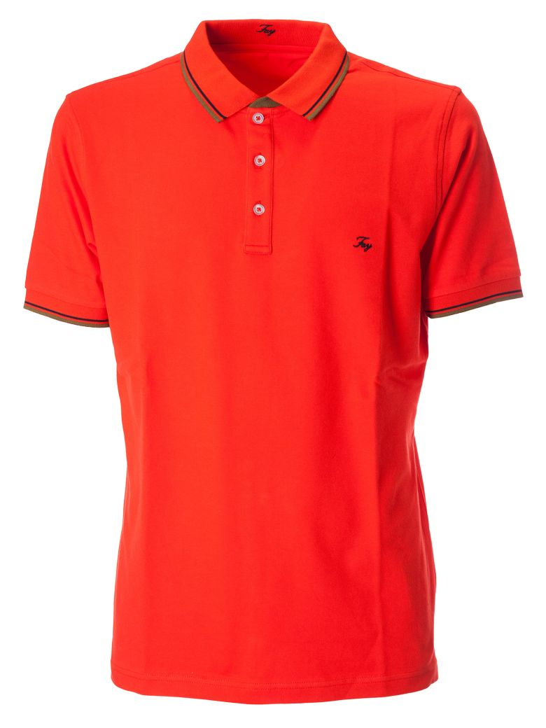 Fay Embroidered Logo Polo Shirt - Red