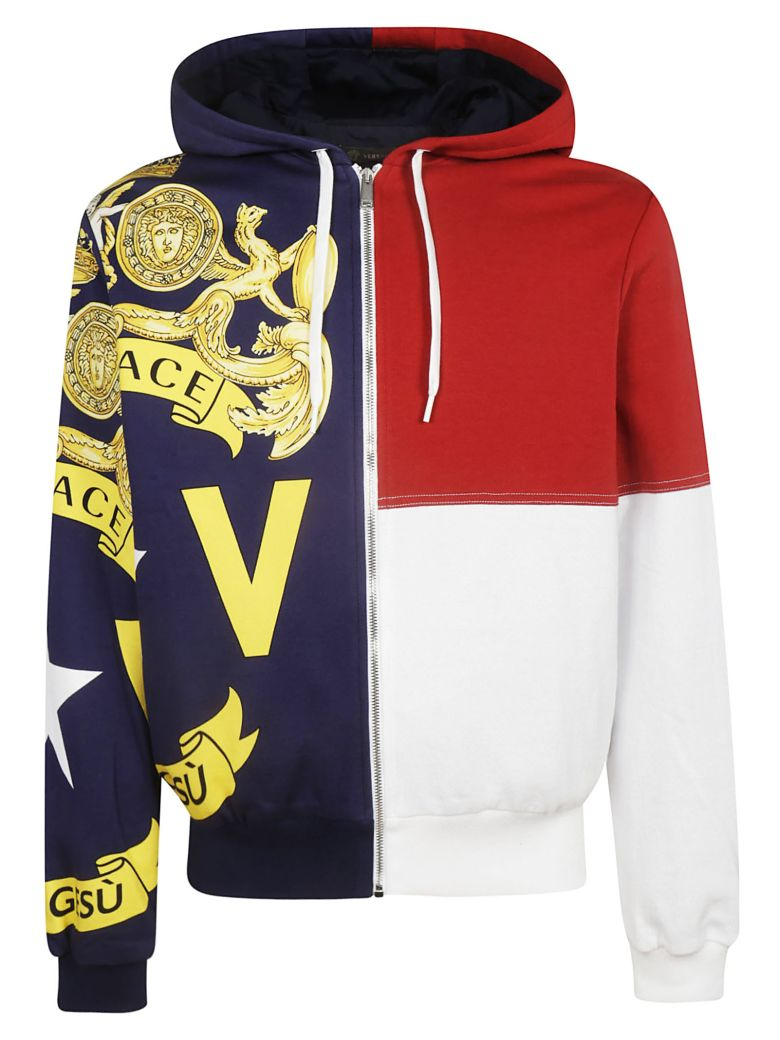 Versace Logo Print Hoodie - White