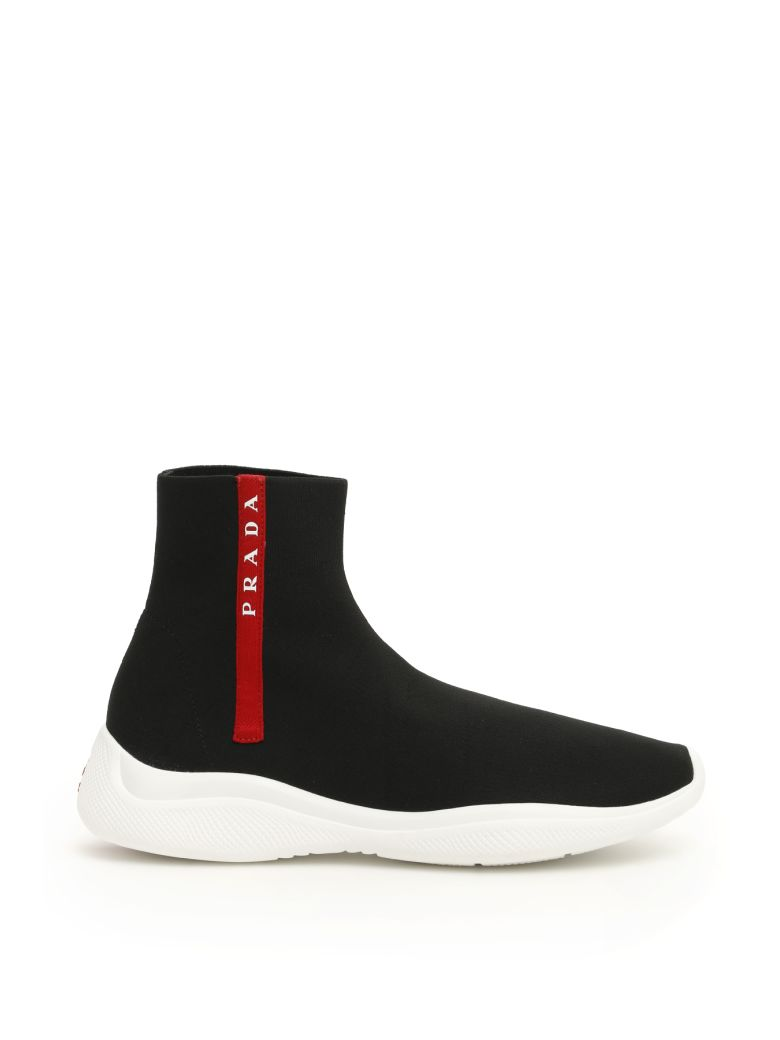 Prada America's Cup Logo Sock Sneakers - NERO BIANCO (Black)