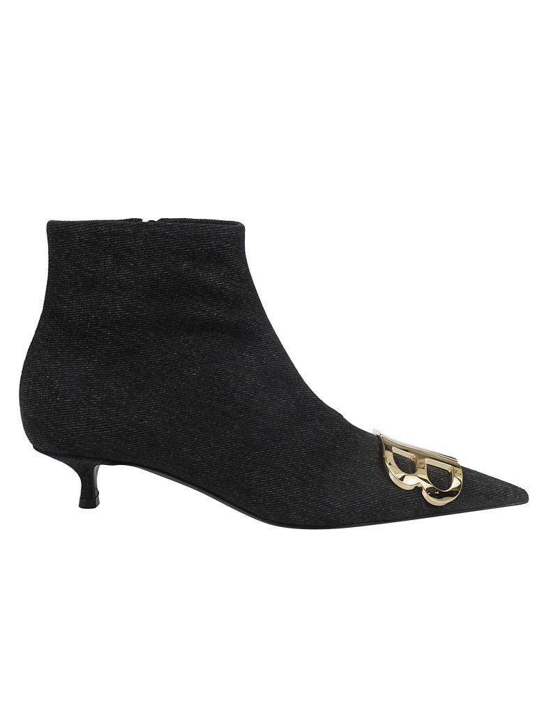 Balenciaga Double B Logo Ankle Boots - Noir Vintage