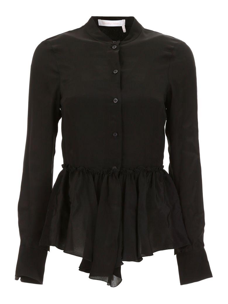 See by Chloé Ruffled Shirt - BLACK (Black)