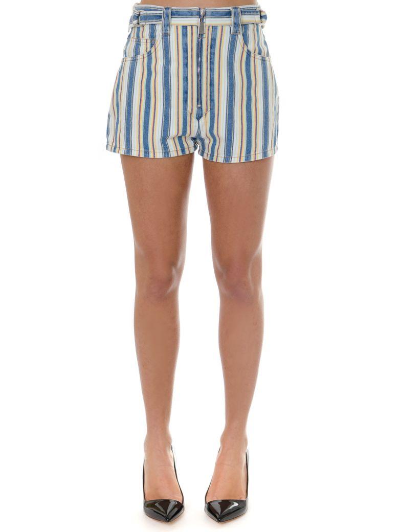 Miu Miu Topaz Striped Shorts In Denim - Topaz