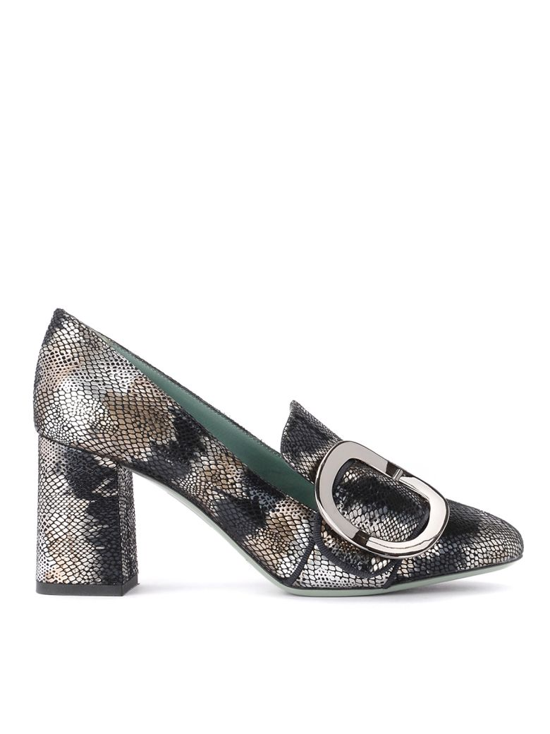 Paola D'Arcano Leather Heeled Loafer Snake Effect - Silver