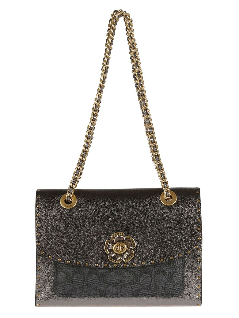 Coach Twist-lock Shoulder Bag - Grey
