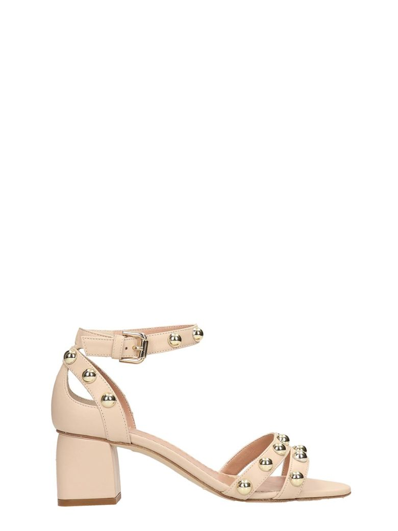 Julie Dee Beige Leather Sandals - beige