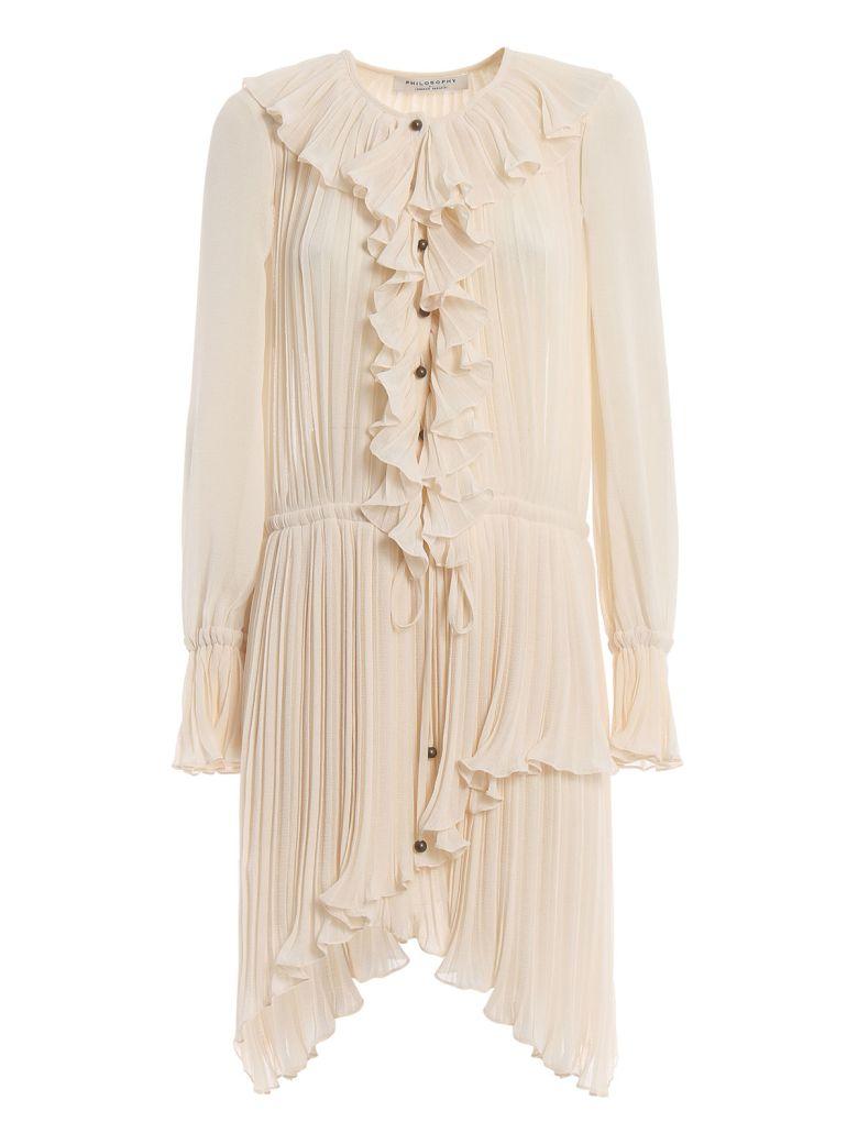 Philosophy di Lorenzo Serafini Ruffle Shirt Dress - Bianco