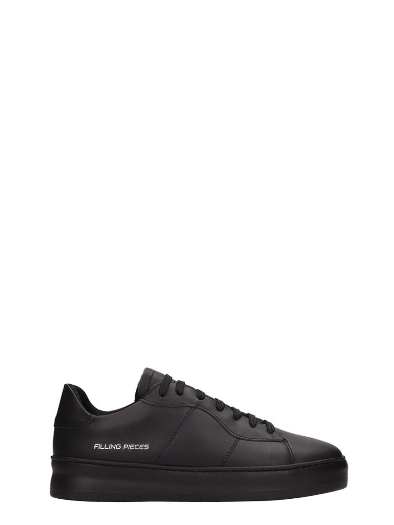 Filling Pieces Black Leather Light Plain Court  Sneakers - Black